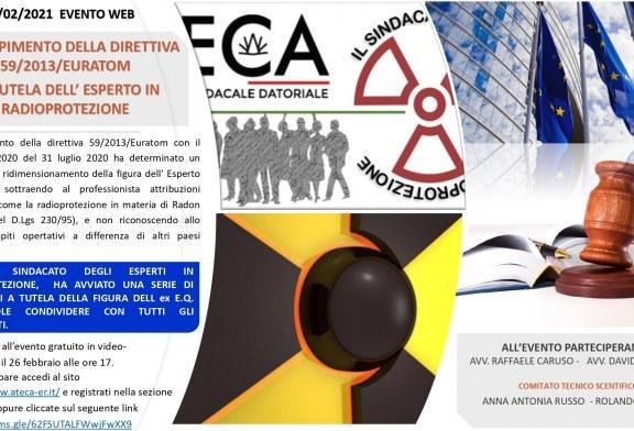 EVENTO WEB – 26/02/2021- La tutela dell'esperto di radioprotezione alla luce del nuovo D.lgs 101/2020