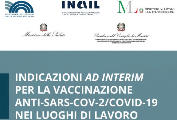 Vaccinazione anti-Covid nei luoghi di lavoro, pubblicate le indicazioni ad interim